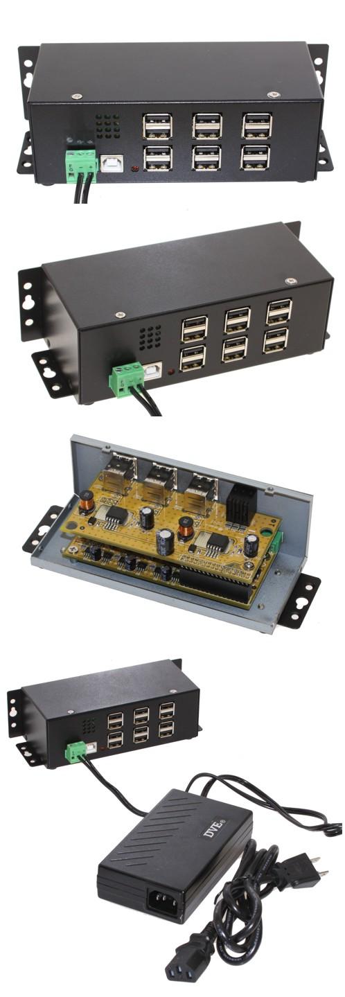 Industrial 12-Port USB 2.0 Powered Hub for PC-Mac -USBG-12U2ML