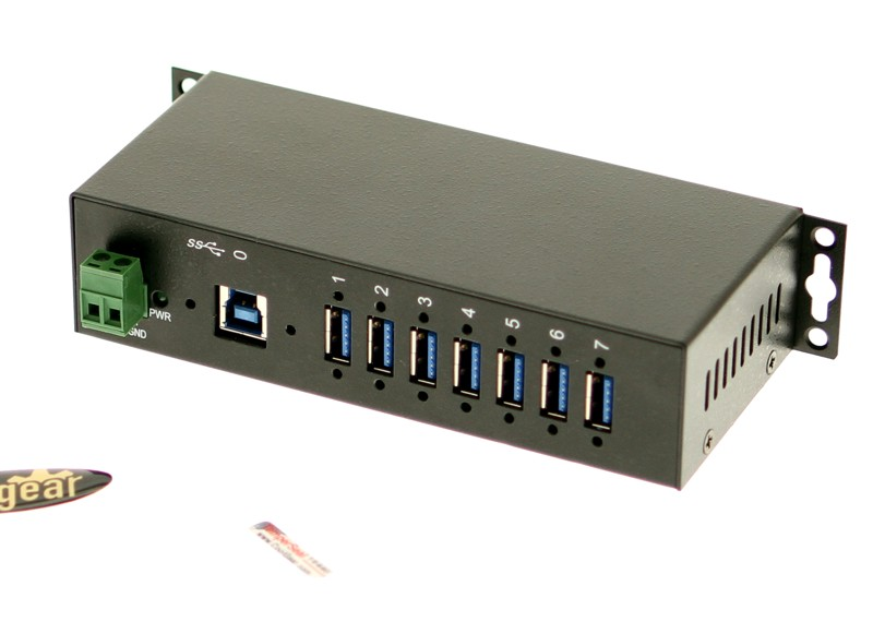 USB 3.0 7-Port Industrial Hub - Ports and Power view image