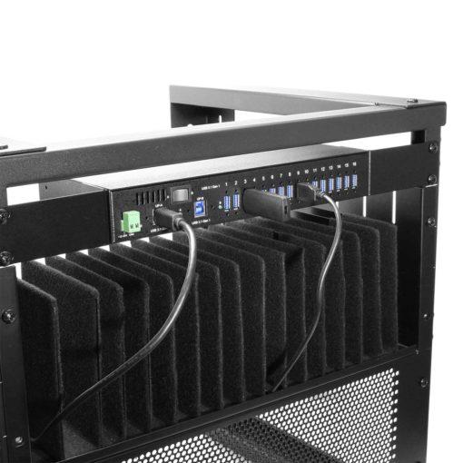 16 Port USB 3.0 Metal Hub w/Surge Protection – Rack/DIN-RAIL Mountable #1 Main Listing