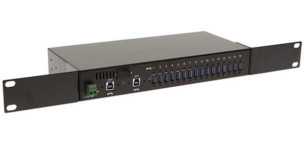 16 Port Usb 3 0 Metal Hub W Surge Protection Rack Din