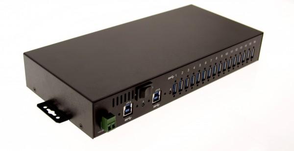 USB 3 Hub with 16 ports Rack and DIN Rail Mountable