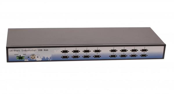 Industrial 16-Port Rack-Mountable USB 2.0 Hub