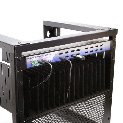 16 Port USB 2.0 Rack-Mountable Hub w/ Internal Power Supply, ESD Surge Protection, & Port Status LEDs DIN Rail Mount