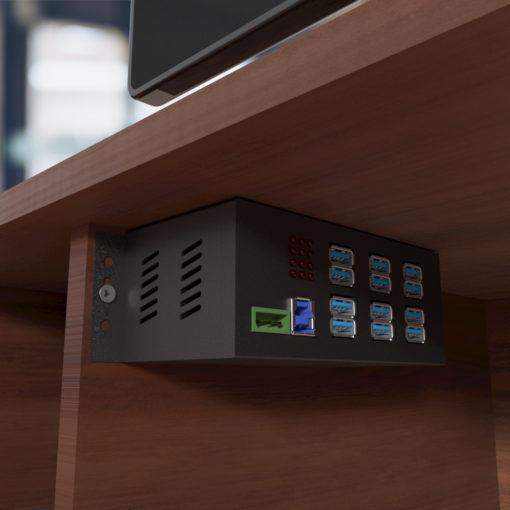 Mountable 12-Port USB 3.0 Powered Industrial Hub PC-MAC