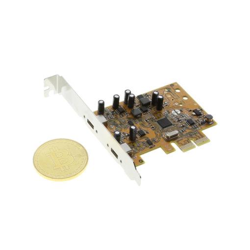 CG-2PTCX2PCIe PCIe-X2 Card Size Comparison