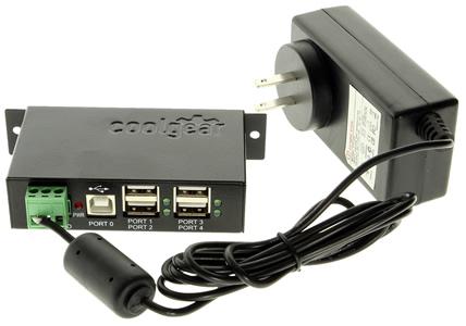 CoolGear USBG-4U2ML-PS USB 2.0 Hub with Power Adapter