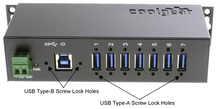 USBG-7U3ML 7Port USB 3 Metal Hub screw lock