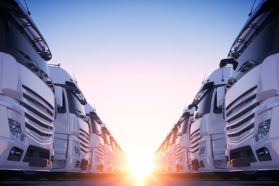 Fleet of transport trucks