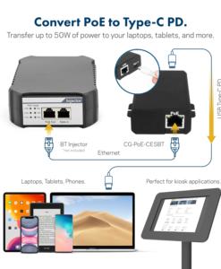Coolgear 50watt PoE to Type C PD Splitter IEEE 802.3 BT