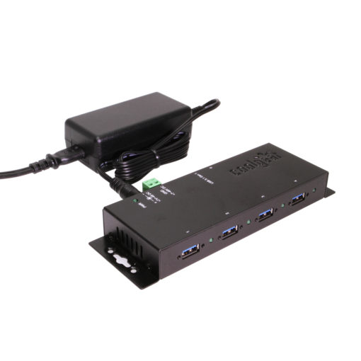USB 3.0 4-Port Industrial USB Hub with Power Supply 7~48V Input