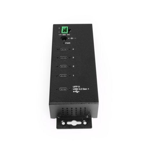 4-port Type-C USB3.2 Gen 1 Hub w/ 15KV ESD Surge Protection DIN RAIL Kit