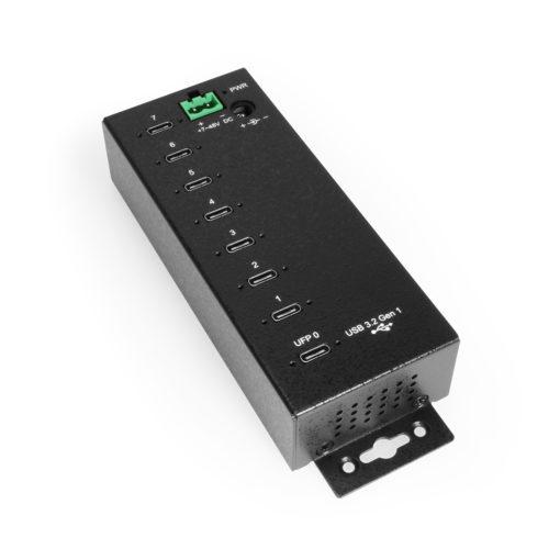 7-Port USB3.2 Gen 1 USB-C Hub, w/ all USB-C ports (UFP 7 DFPs), Metal Case with 15KV ESD Surge Protection, 7~48V DC power input, DIN RAIL Mounting Kit