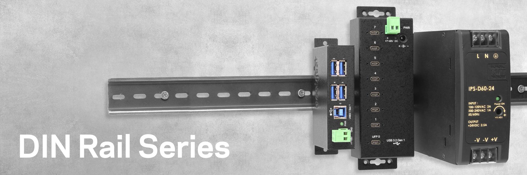 Industrial 4-Port USB 2.0 Powered Hub for PC-MAC DIN-RAIL Mount