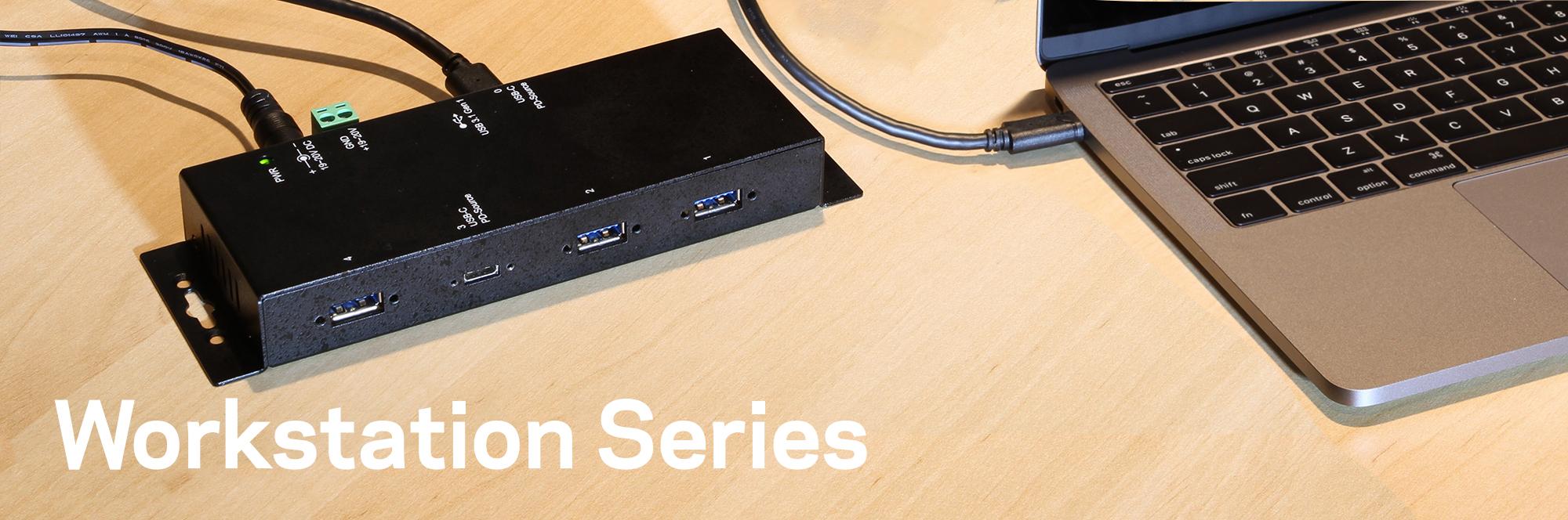 Metal 7-Port USB 2.0 Powered Slim Hub for PC-MAC with Power Adapter hub