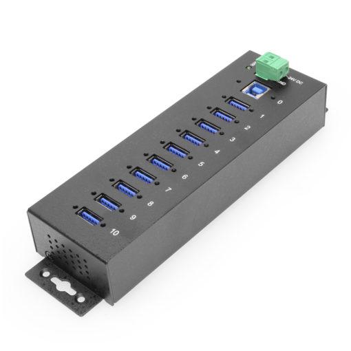10 Port USB 3.2 Gen 1 Hub integrated Surge Protection w/ Din Rail Mounting Kit